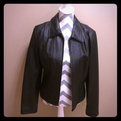 Selling this Moda International Black Leather Jacket on Poshmark! My username is: hgoris2003. #shopmycloset #poshmark #fashion #shopping #style #forsale #Moda International #Jackets & Blazers