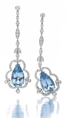 HAMILTON'S HERITAGE GEMSTONE COLLECTION.  One-of-a-kind aquamarine earrings with diamonds set in platinum.
