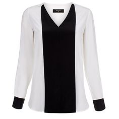 Paul Smith Women's White Collarless Silk Shirt With Black Bib (12.370 RUB) ❤ liked on Polyvore featuring tops, blouses, sheer shirt, collarless shirt, v-neck shirts, v neck shirts and silk shirt