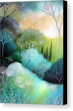 Mounted print titled 'Homeward' by Amanda Clark - landscape art, fox art, mounted art print, fairytale art Illustrations, Illustration Art, Clark Art, Fairytale Art, Art Graphique, Pics Art, Tree Art, Landscape Art, Landscape Paintings