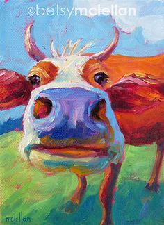 Cow Matted Giclee Print by betsymclellanstudio, $19.00