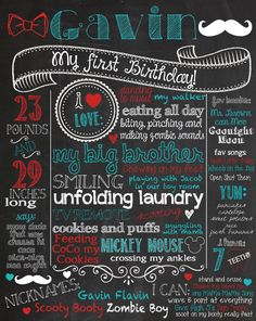 Customized printable chalkboard poster any size - mustache and bowtie themed party