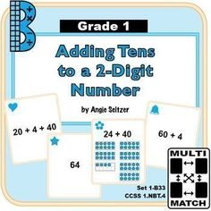 """This set of 36 printable cards will help students learn to add tens to a 2-digit number (CCSS 1.NBT.4). The """"B"""" in the title stands for the base ten domain. Dozens of other math card sets are available to use for matching activities. ~by Angie Seltzer"""