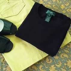 Black Ralph Lauren T-shirt Staple for any closet.  Remember, black goes with everything! Tops Tees - Short Sleeve