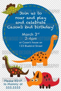Dinosaur birthday invitation by dogwoodartshop on Etsy, $10.00