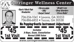 • Back & Neck Pain   • Headaches  • Fibromyalgia   • TMJ  • Carpal Tunnel  • Weight Loss  ... | Carringer Wellness Center - Eastanollee, GA #georgia #LavoniaGA #shoplocal #localGA