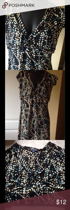 Spring dress, black with colored dots. Black lightweight dress, super comfortable, dots are blue, cream and pale yellow, flattering bustline detail.   Cap sleeves.  Size xs  barely worn max edition  Dresses Midi