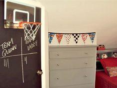 Boy Room - Red and Gray, Chalkboard Door, Basketball Hoop, - cute idea for sport themed room
