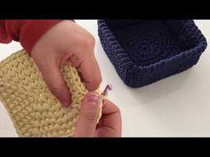 Penye İpten kare sepet taban yapımı -1 - YouTube