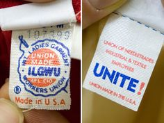 How to identify vintage clothing by the tags. union label tags on vintage clothing
