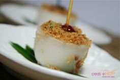 Talam Ebi, savoury snack with crispy shrimps topping.