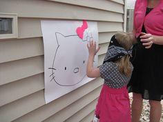 My Blissful Space: Hello Kitty Birthday!  Pin the bow on Hello Kitty... Great idea!
