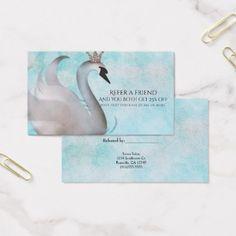 #salon - #Swan Princess Fairy Tale Refer a Friend Client Business Card