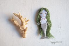 Little Mermaid  Art Doll Brooch Woodland Fairy Tales by miopupazzo