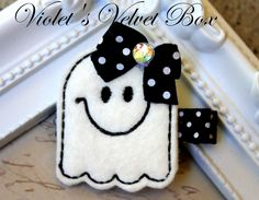 2 Halloween Hair Bows- Ghost Clips - Halloween Hair Clips-PAIR- by Violet's Velvet Box. $7.50, via Etsy.