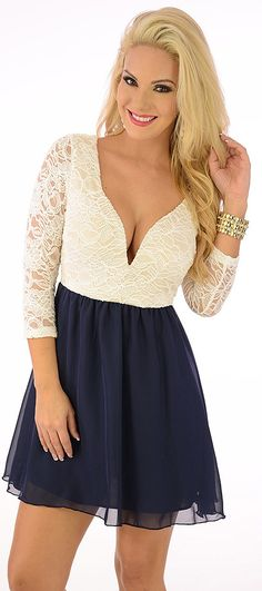Sundae (Ivory/Navy)-Great Glam is the web's best online shop for trendy club styles, fashionable party dresses and dress wear, super hot clubbing clothing, stylish going out shirts, partying clothes, super cute and sexy club fashions, halter and tube tops