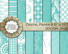 Teal Turquoise Blue Green Digital Paper 16 Pages 8.5x11 Inches Printable Scrapbook Chevron Damask Check Swirls Textures SP014