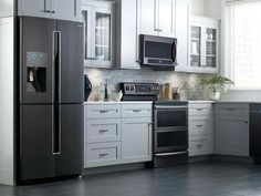 Dark appliances and white cabinets. Nice