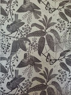 Marthe Armitage jungle birds handprinted wallpaper linocut hogarth museum exhibition
