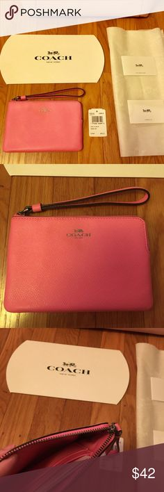 """New with tag Coach Wristlet Wallet! Hot pink NWT NWT 100% Authentic Coach Wristlet Wallet in hot pink! Perfect for Gift! Comes with logo tissue and gift box.  Check out my closet for more Coach, Michael Kors Wallet, bag, and purses!  All new with tag and authenticity guaranteed!!!  4"""" x 6"""" Coach Bags Clutches & Wristlets"""