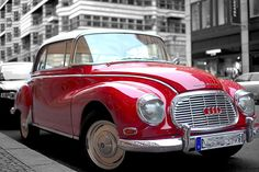 Red is one of the three primary colors along with blue and yellow. Red, the color of human blood represent passion, love and anger. Vintage Cars, Antique Cars, Audi, Automobile, Ruby Red Slippers, Auto Union, Red Pictures, Car Images, Cute Cars