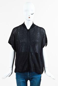 Brunello Cucinelli Black Knit Sequin Embellished Zip Up Cardigan
