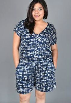"PRETTY N PLUS SIZE Gorgeous ABSTRACT Designed Romper- 1X / ""HOT ITEM WOW!"