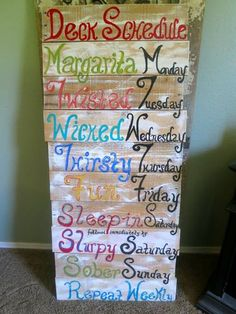 Pallet Art Pallet Sign Deck Porch Patio Tiki Bar Tiki Hut Schedule Sign | eBay