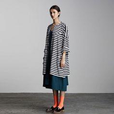 kowtow organic cotton black white striped oversized cardigan