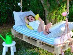 DIY swing from Euro pallets - 25 fairytale ideas for you .- DIY Schaukel aus Europaletten – 25 märchenhafte Ideen für Sie DIY swing from Euro pallets – 25 fairytale ideas for you - Diy Projects For Kids, Diy Pallet Projects, Outdoor Projects, Pallet Ideas, Kids Diy, Pallet Garden Ideas Diy, Pallet Crafts, Diy Garden, Diy Crafts