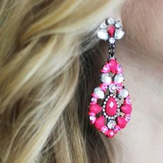 Love these raspberry pink statement earrings! ~ ModeMusthaves