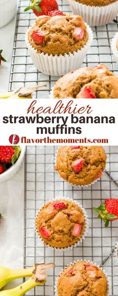 Strawberry Banana Muffins are light and fluffy whole grain muffins packed with fresh strawberry and banana flavor. They're the best healthy muffins! Strawberry Muffins Healthy, Strawberry Banana Smoothie, Healthy Muffins, Healthy Strawberry Recipes Clean Eating, Healthy Lunches, Best Vegetarian Recipes, Whole Food Recipes, Healthy Recipes, Ww Recipes