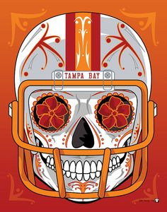 """""""Tampa Bay Buccaneers Throwback"""" Sugar Skull Day of the Dead Calavera Print Inspired by the professional football team's original creamsicle"""