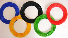 paper plate olympic rings. Great for the children at camp to make during the olympic time. :)