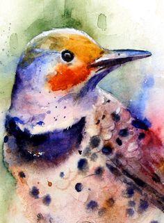 Woodpecker Watercolor Print by Dean Crouser