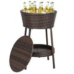 Wicker Ice Bucket Outdoor Patio Furniture All-Weather Beverage Cooler with Tray #Unbranded