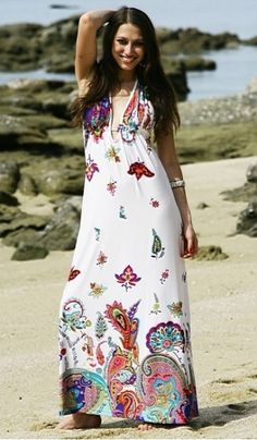 Beautiful white with patterns inspired by a BoHo Chic Indian Summer, Mia is a a super sexy maxi dress tied in a halterneck around the neck and with a back strap tie under bust you control the support and style. Show your chic sexy side this season with Mia