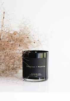 Tobacco + Vanilla Candle in black glass tumbler with gold foiled label. From the… – Soy Candles İdeas Candle Branding, Candle Packaging, Candle Labels, Candle Jars, Black Candles, Soy Wax Candles, Scented Candles, Vanilla Candles, Vegan Candles