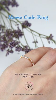 """This ring is handcrafted from sterling silver and gold plated 2 mm beads. Embellished with the word """"LOVE"""" in Morse code, this ring is perfect to express your love. Mix, match and stack it with different rings for a unique look. #morsecodering #stretchring #beadedring #morsecodejewelry Handmade Accessories, Handmade Jewelry, Meaningful Gifts For Her, Rings With Meaning, Morse Code Bracelet, Beaded Rings, Mix Match, Unique Rings, Mother Gifts"""