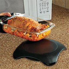 Microwaveable Hot Plate. Keep food warm for an hour...no cords or flame.