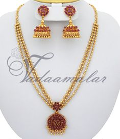 Ruby necklace set  http://www.vadaamalar.com/jewelry/jewelry-sets-online/ruby-emerald-sets/ruby-necklace-and-jhumki.html