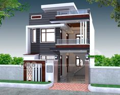 2200 sq-ft 4 bedroom India house plan modern style 2200 square feet 4 bedroom modern contemporary house plan by S. House Outer Design, Best Modern House Design, Modern Exterior House Designs, House Front Design, Small House Design, 3 Storey House Design, Bungalow House Design, 2 Storey House, India House