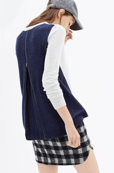 Madewell Back-Zip Pullover in Colorblock