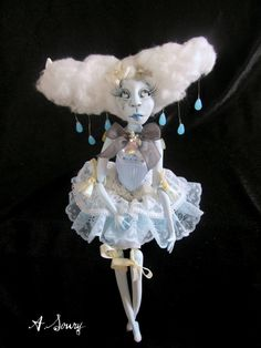 Ooak Art Doll -Claudine cloud doll jointed clay art doll -Handmade. by robbie