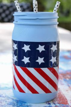 DIY Patriotic mason red white and blue duct tape centerpiece idea