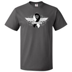 Show you fight strong with Carcinoid Cancer Fighter Wings T-Shirt featuring a cool grunge tattoo style wings on a scroll backdrop with an awareness ribbon #CarcinoidCancer #CarcinoidCancerAwareness #CarcinoidCancerFighter