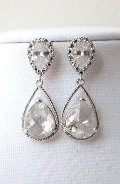 Magda Silver Teardrop Crystal Earrings