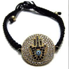 Hand of fatima kabbalah hamsa macrame evil eye silver bracelet
