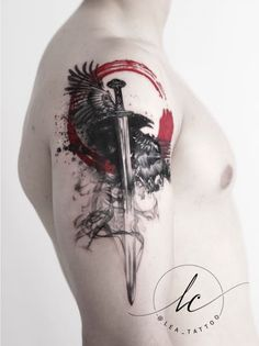 Polka trash inspired viking theme: the sword depicts Gram, which the hero Sigurd Fafnersbane - Tattoo MAG Skull Tattoos, Body Art Tattoos, Hand Tattoos, Sleeve Tattoos, Cool Tattoos, Trash Polka Tattoos, Tattoo Trash, Norse Mythology Tattoo, Norse Tattoo
