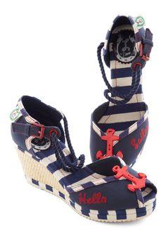 Nautical Smile Wedge | ModCloth.com. So I LOVE practically anything nautical clothing wise, so when I saw these shoes I freaked!! They are toooooooooo COOL!!